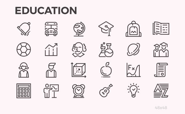 stockillustraties, clipart, cartoons en iconen met de pictogrammen van het onderwijs. schoolprogramma's en apparatuur, docenten en studenten en andere symbolen. bewerkbare lijn. - slagen school