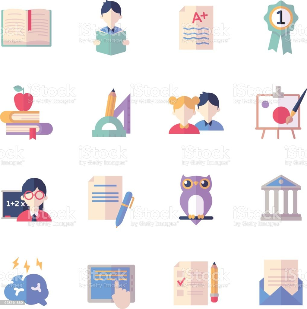 Education Icons Set 2 - Flat Series vector art illustration