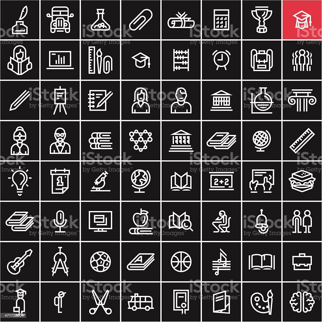 Education icons set. Back to school concept linear icons. vector art illustration