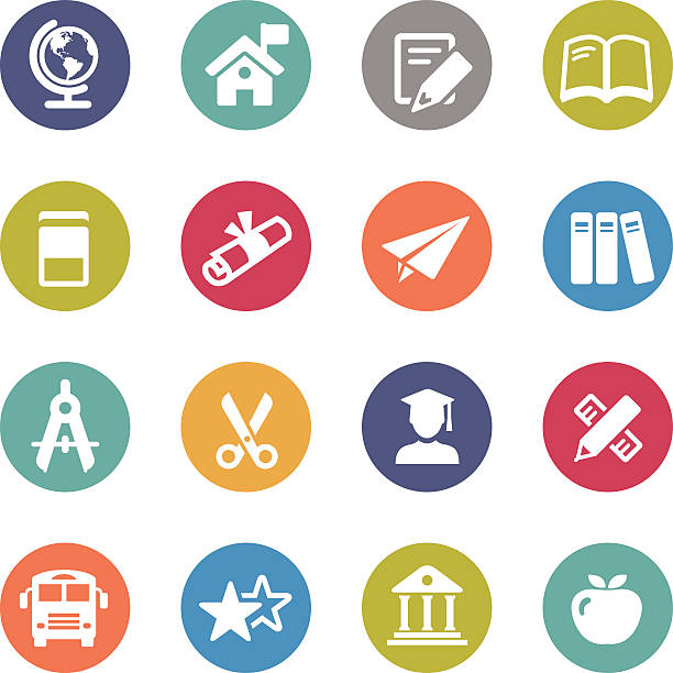 Education Icons Set - Circle Series View All: schoolhouse stock illustrations