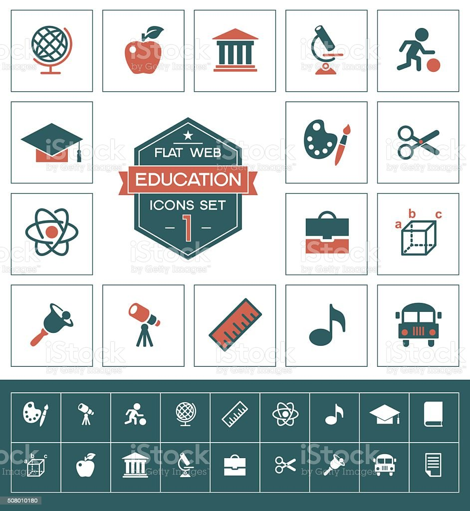 Education icons set one vector art illustration