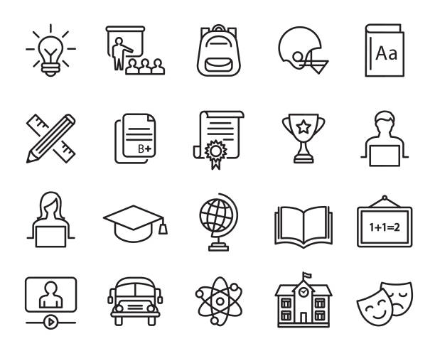 education icons set - book symbols stock illustrations