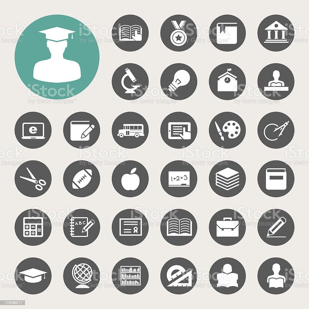 Education icons set. vector art illustration