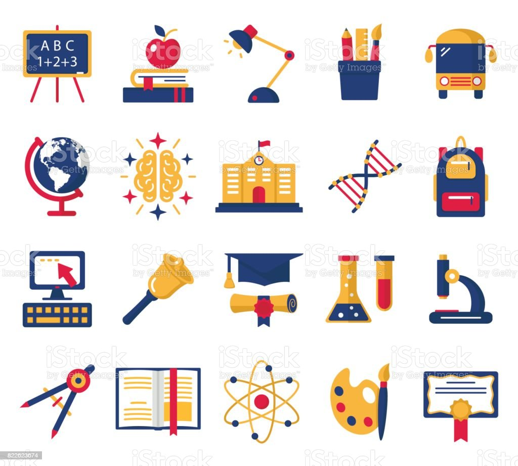 Education icons set. vector art illustration
