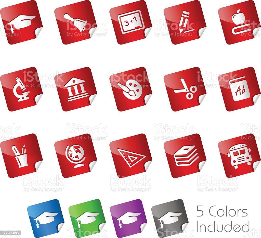 Education Icons // Stickers Series education icons stickers series – cliparts vectoriels et plus d'images de apprentissage libre de droits