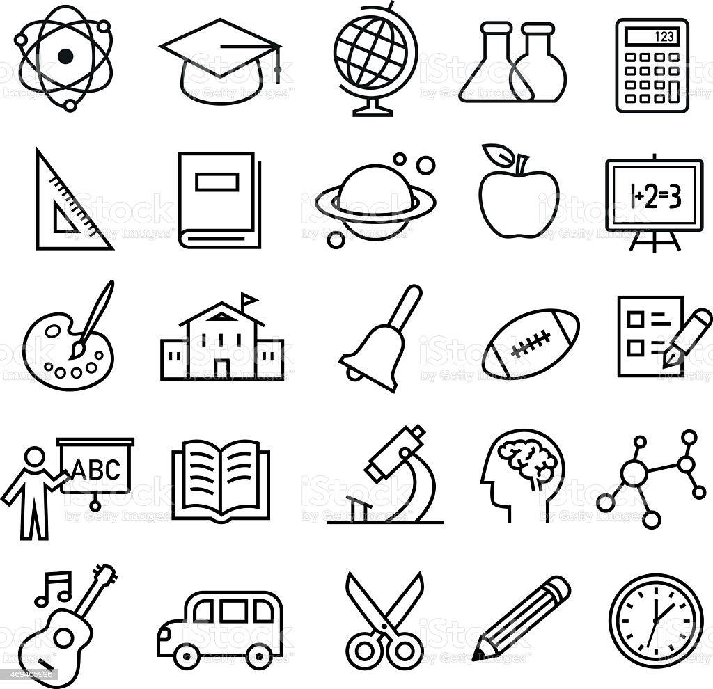 Ícones de educação de linhas finas estilo - ilustração de arte em vetor