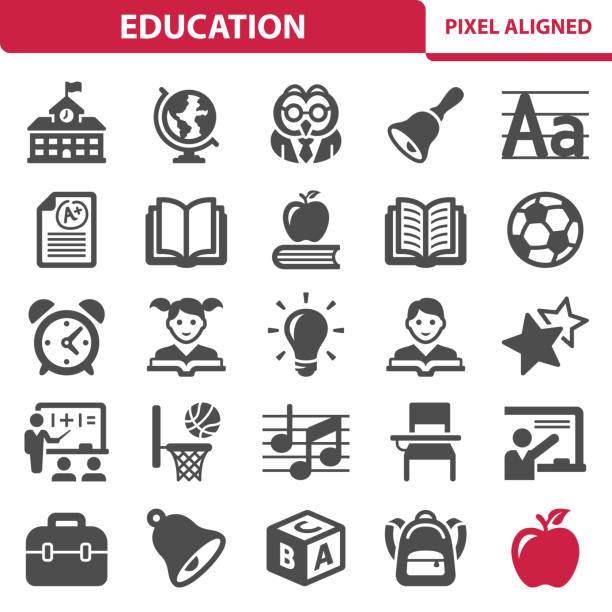 education icons - high school sports stock illustrations