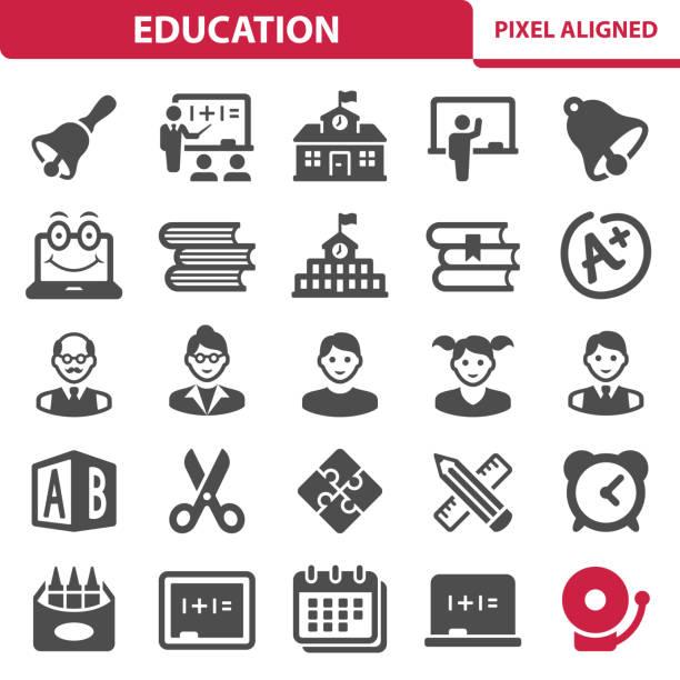 ilustrações, clipart, desenhos animados e ícones de ícones de educação - professor