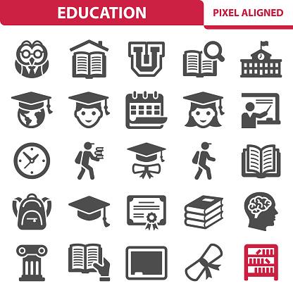 Utbildning Ikoner-vektorgrafik och fler bilder på Akademikermössa