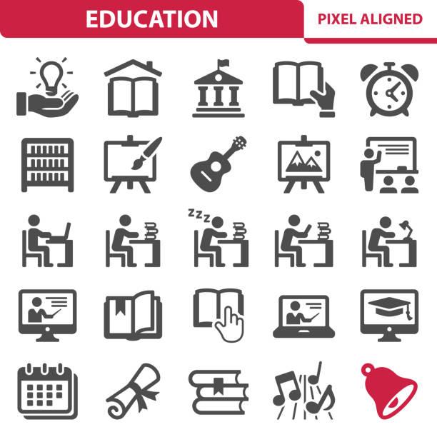 illustrations, cliparts, dessins animés et icônes de icônes de l'éducation - université