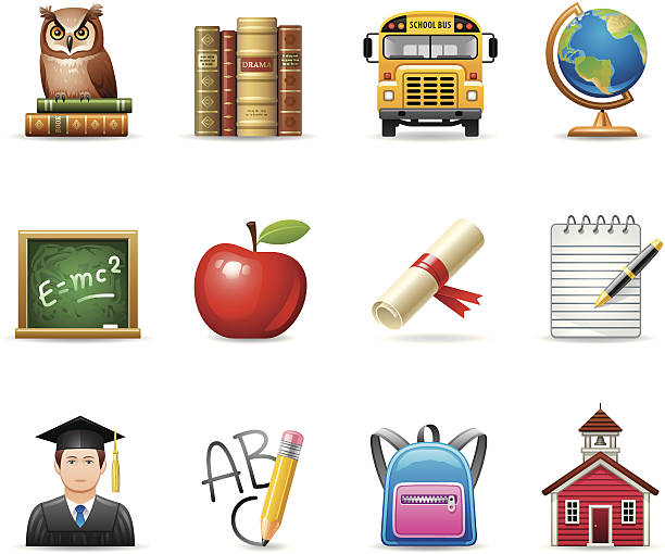 Education icons Vector icons with an school and education theme. Elegant series. EPS8, JPEG + AI CS3  schoolhouse stock illustrations