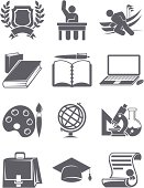 School, College and University education icons set for your print project or Web site. One click change colors.