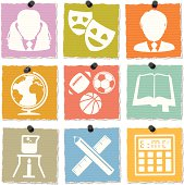 Torn paper education icon set. Thumbtacks are removable.