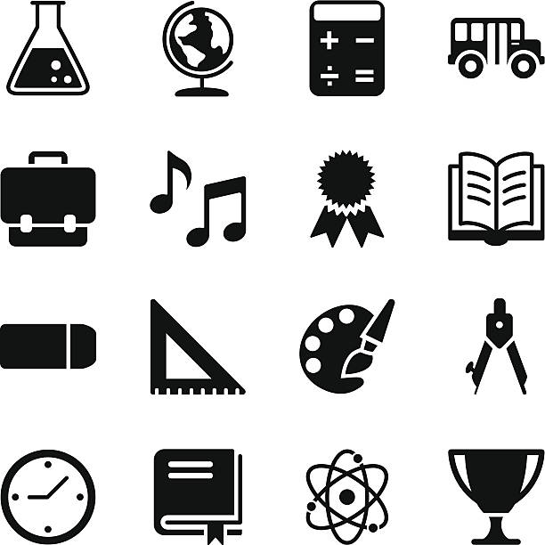 stockillustraties, clipart, cartoons en iconen met education icons - schooltas