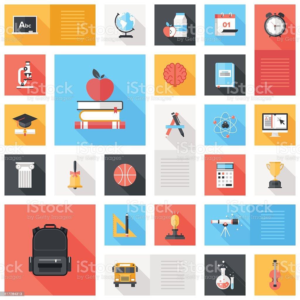 Education Icons vector art illustration