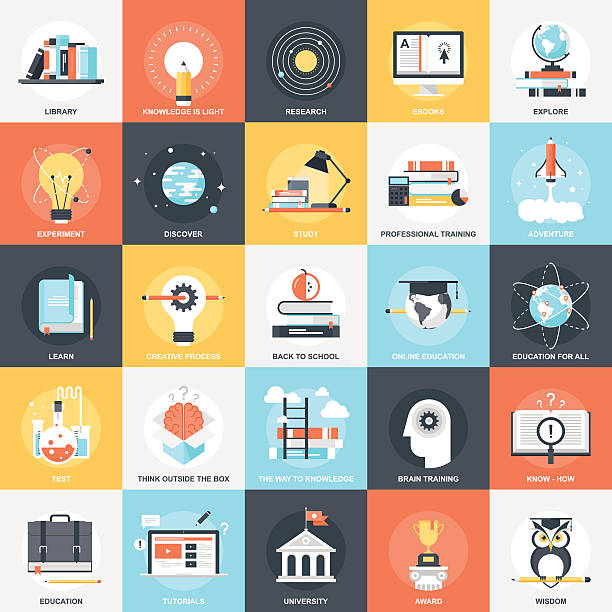 education icons - science class stock illustrations, clip art, cartoons, & icons