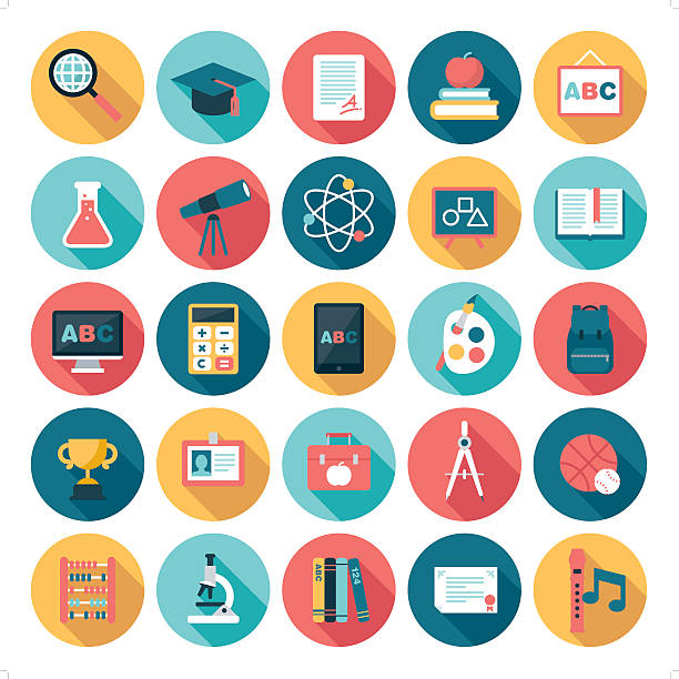 education icons A set of 25 education related icon set. Icons are grouped individually. topics stock illustrations