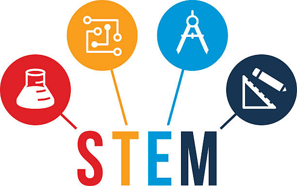 STEM Education Icons An illustration symbolizing STEM education. The areas of study include science, technology, engineering and mathematics. plant stem stock illustrations