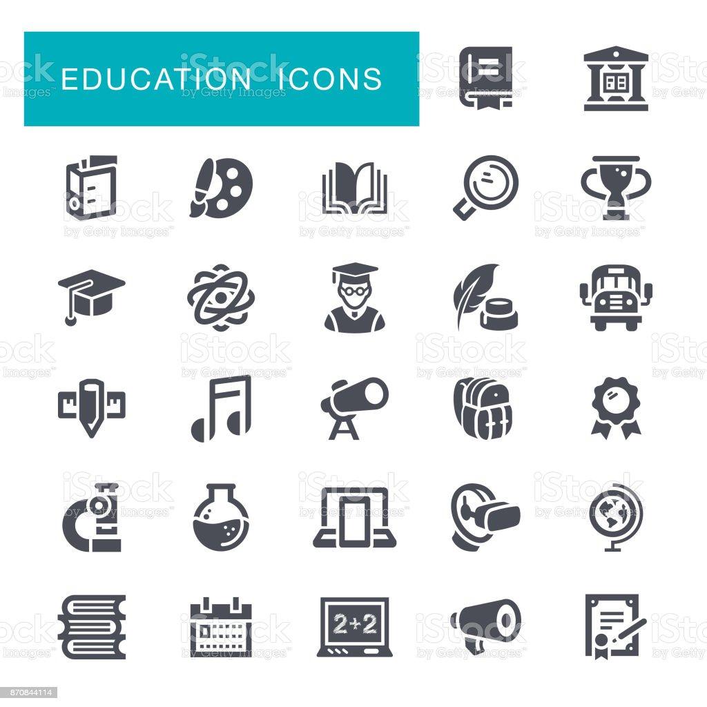 Iconos de la educación - ilustración de arte vectorial