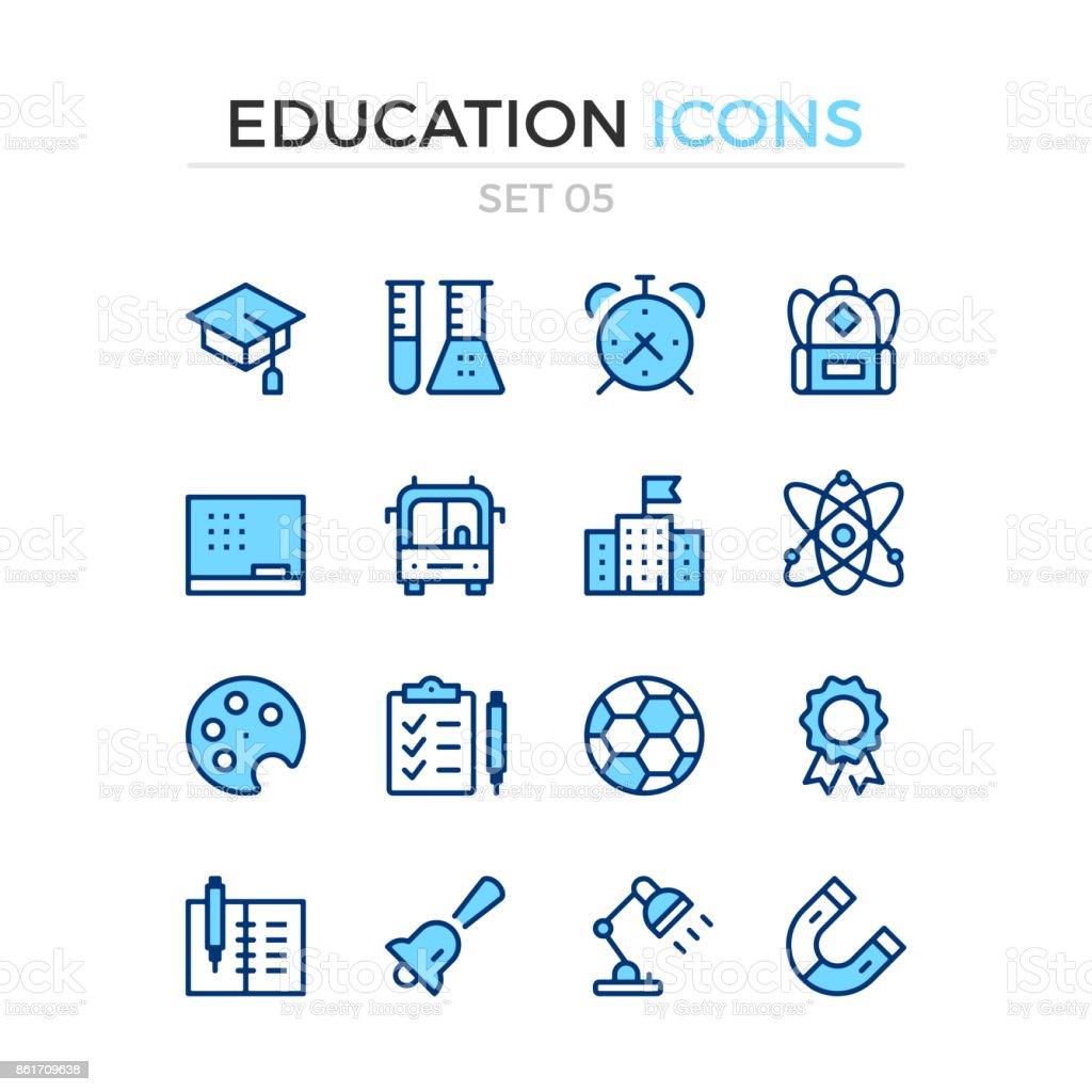 Iconos de la educación. Conjunto de iconos de vector línea. Calidad premium. Diseño de línea delgada simple. Trazo, estilo lineal. Símbolos de esquema moderno, pictogramas - ilustración de arte vectorial