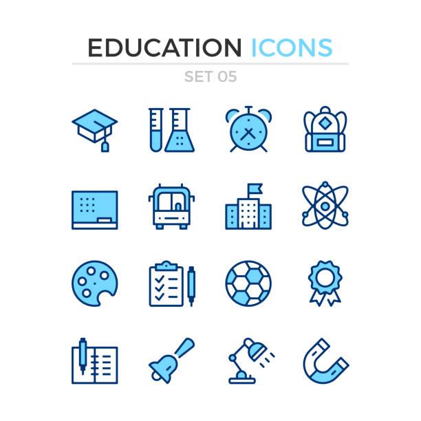 ilustraciones, imágenes clip art, dibujos animados e iconos de stock de iconos de la educación. conjunto de iconos de vector línea. calidad premium. diseño de línea delgada simple. trazo, estilo lineal. símbolos de esquema moderno, pictogramas - autobuses escolares
