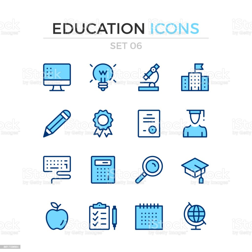 Education icons. Vector line icons set. Premium quality. Simple thin line design. Stroke, linear style. Modern outline symbols, pictograms royalty-free education icons vector line icons set premium quality simple thin line design stroke linear style modern outline symbols pictograms stock illustration - download image now
