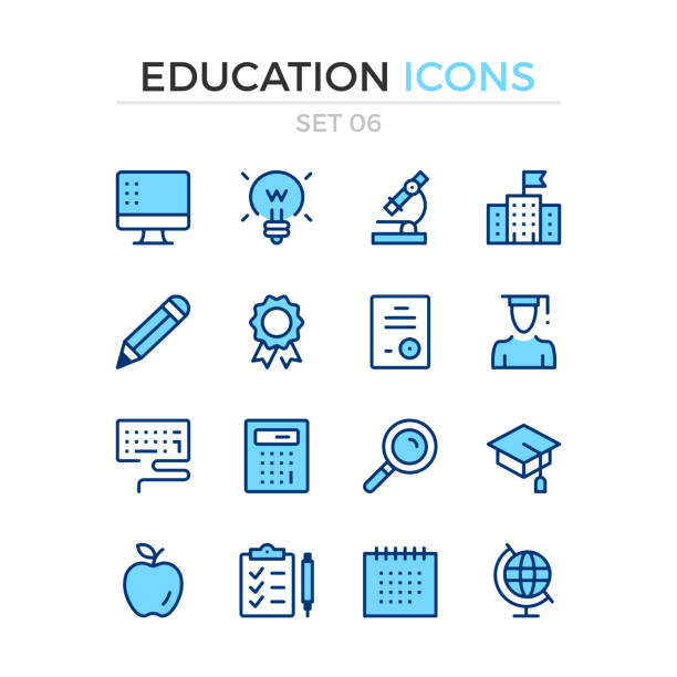 education icons. vector line icons set. premium quality. simple thin line design. stroke, linear style. modern outline symbols, pictograms - school stock illustrations