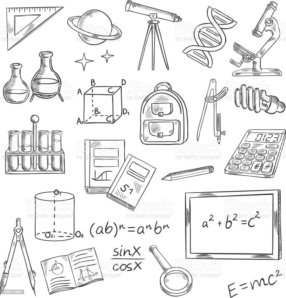 Education icons with school supplies and equipment vector art illustration
