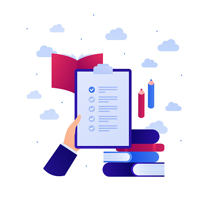 Education in business concept. Vector flat illustration. Test exam on paper. Hand hold task checklist on clipboard. Book and pen sign. Design element for banner, web, infographic.