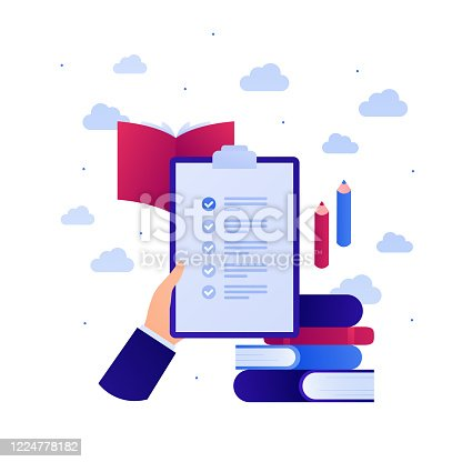 istock Education in business concept. Vector flat illustration. Test exam on paper. Hand hold task checklist on clipboard. Book and pen sign. Design element for banner, web, infographic. 1224778182