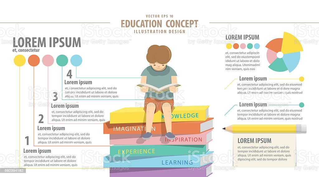 Education infographic about reading and study. Boy reading a book vector art illustration