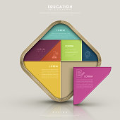 education infographic design with colorful tangram