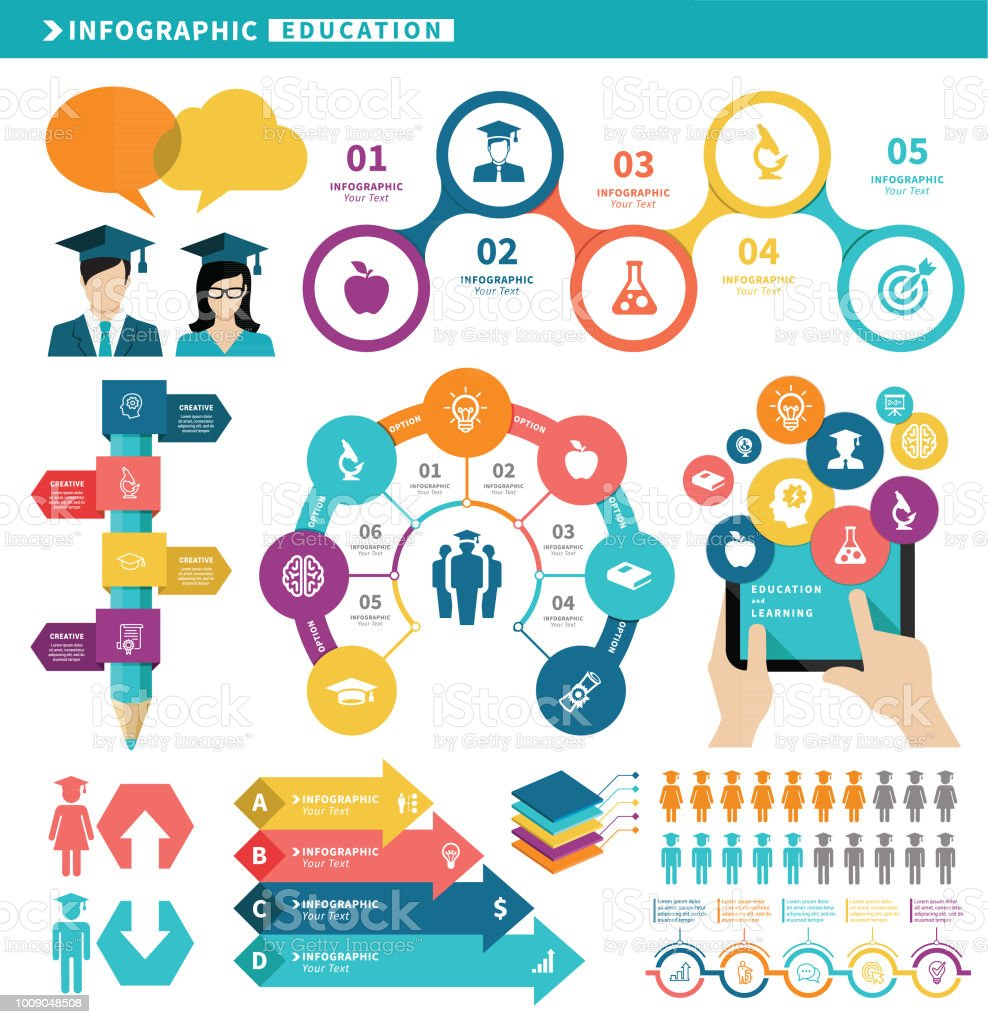 Education Infographic Elements vector art illustration