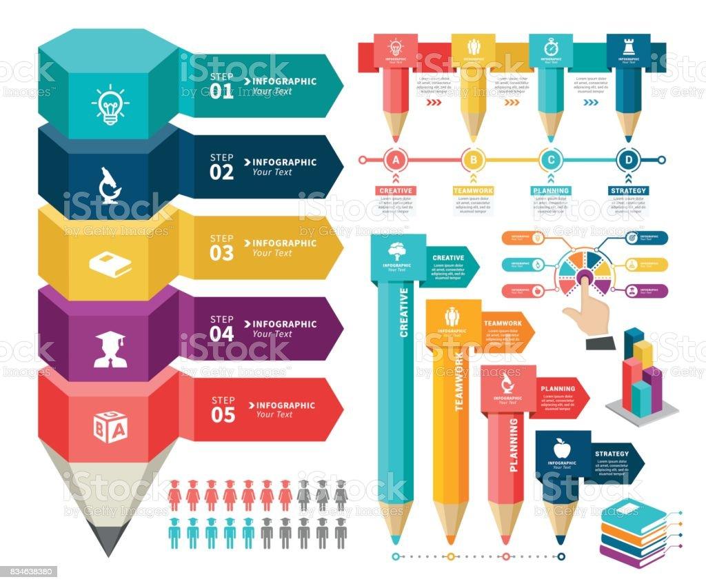 Education Infographic Elements vector art illustration