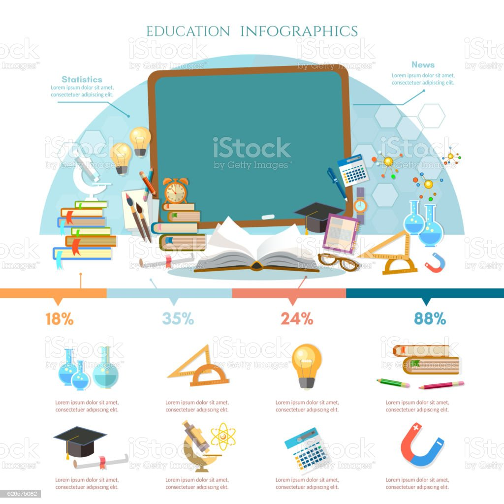 Education infographic, open book of knowledge, back to school vector art illustration