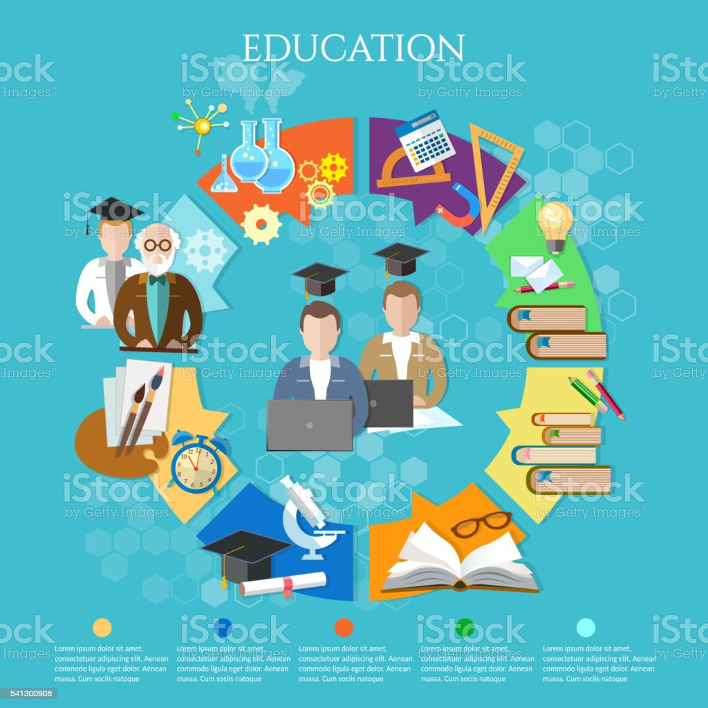 Education infographic open book of knowledge vector art illustration