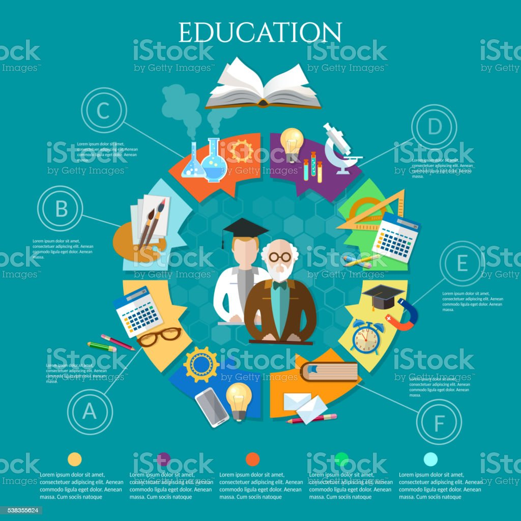Education infographic professor and student learning open book vector art illustration