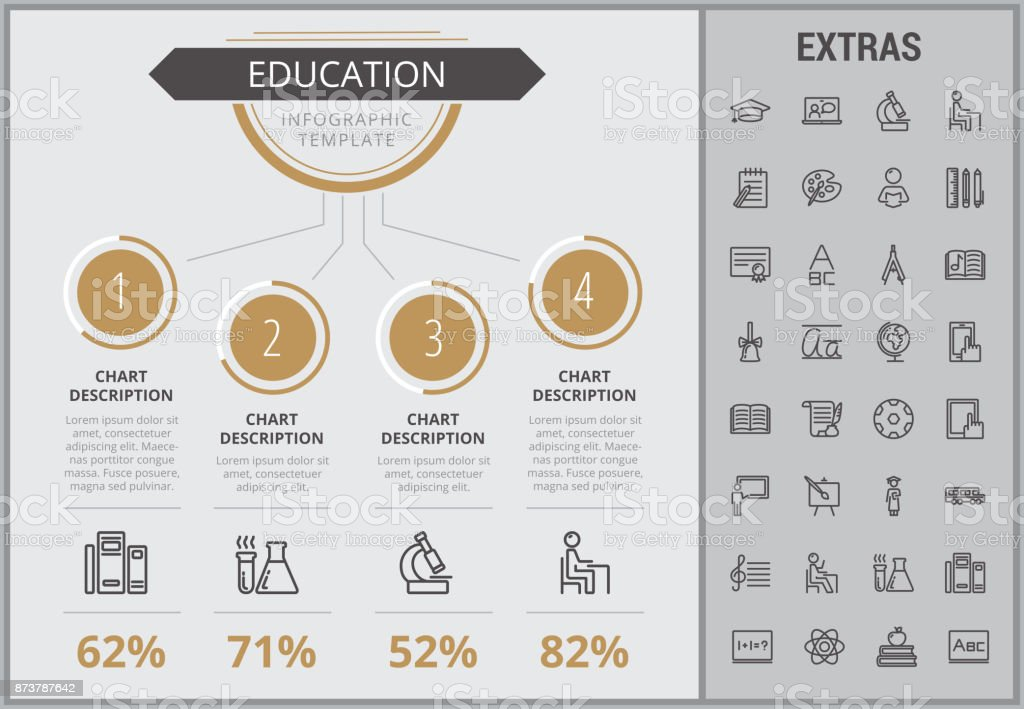 Education infographic template, elements and icons vector art illustration