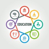 Education infographic with 8 steps, parts, options