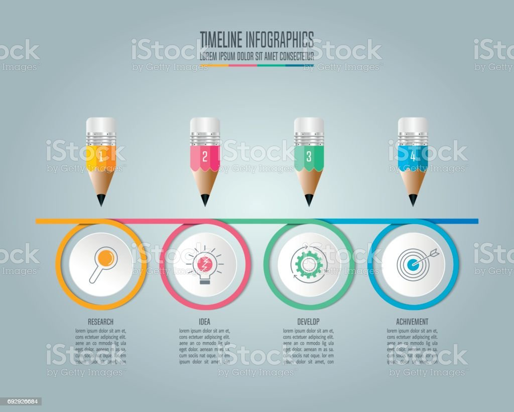 Education Infographics Template Step Option Pencil With Timeline - Timeline infographic template