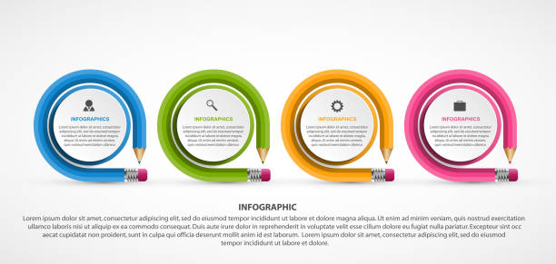 Education Infographics template with pencil. Can be used for education or business presentations, information banner. vector art illustration