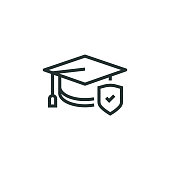 Education Insurance Line Icon