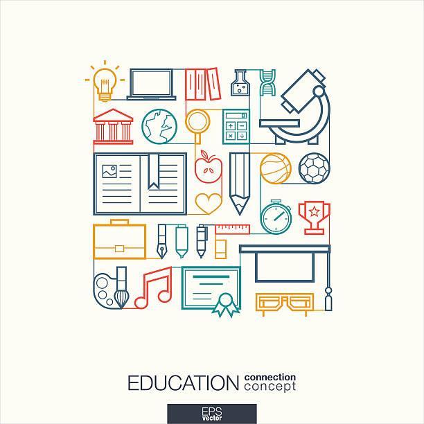 教育統合細いラインコード - 学校の文房具点のイラスト素材/クリップアート素材/マンガ素材/アイコン素材