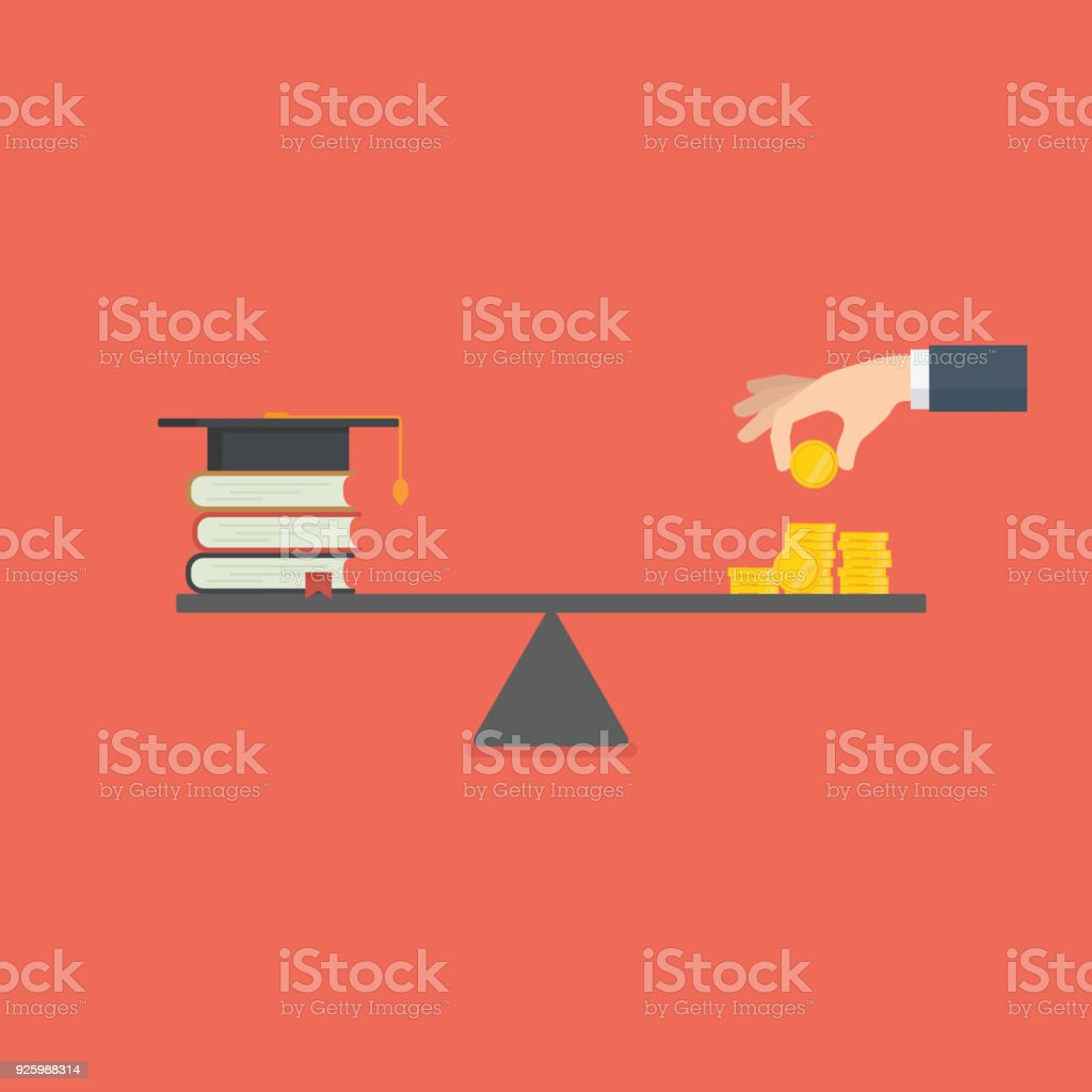 Education Investment. Saving Money For Education. Stack of Book and Money on the scale. High cost of education vector art illustration