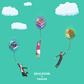 Education is freedom flat isometric low poly vector concept