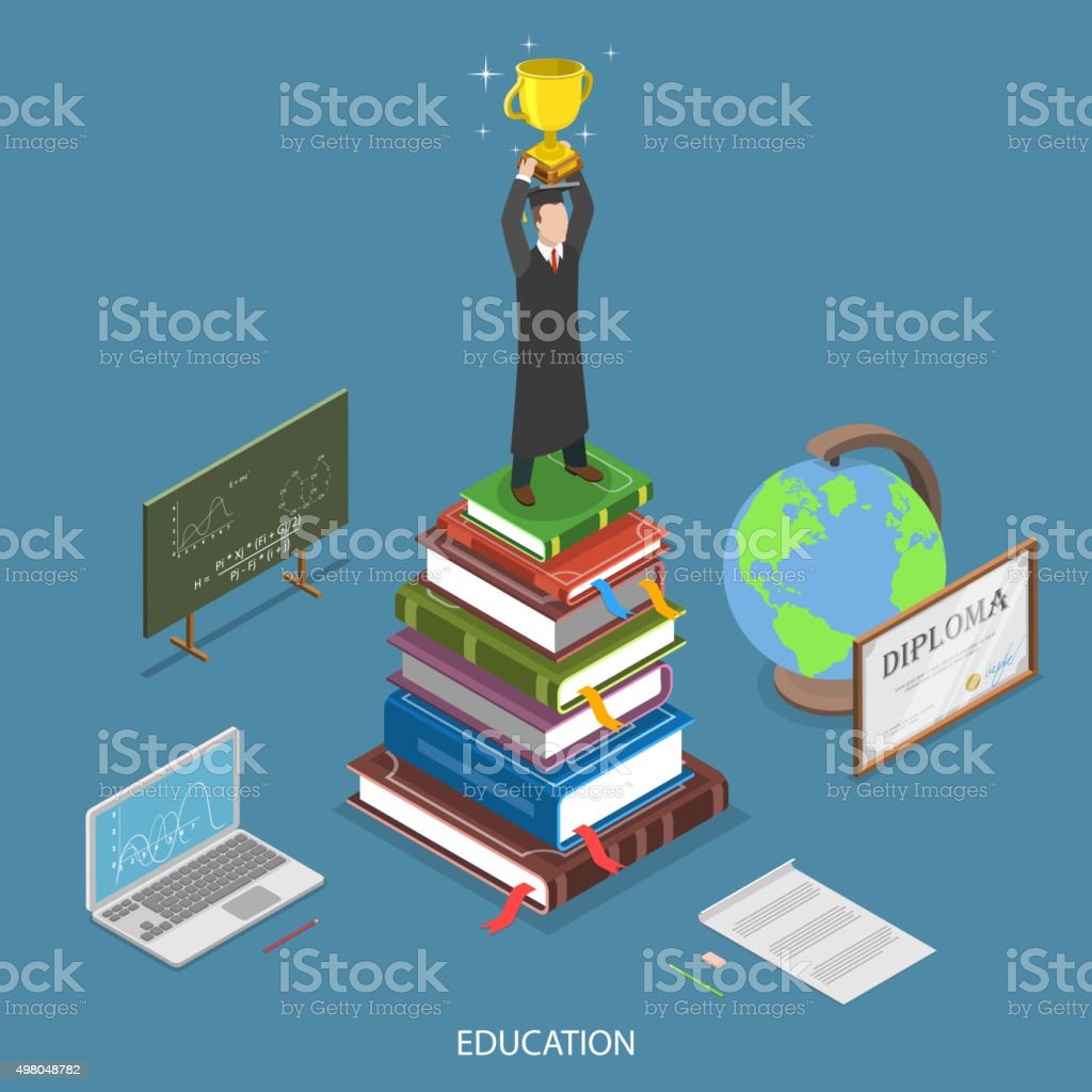 Education isometric flat vector concept. vector art illustration