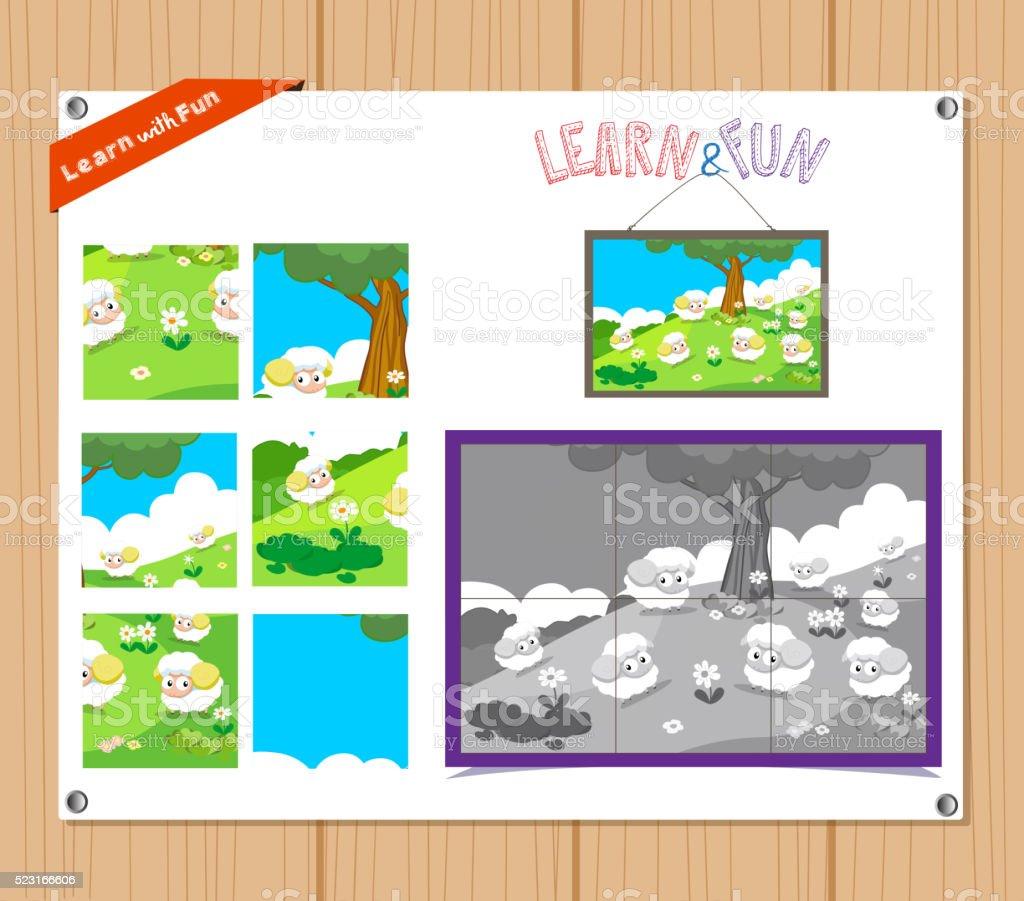 教育ジグソーパズルゲームのお子様に託児所農場の動物 のイラスト素材