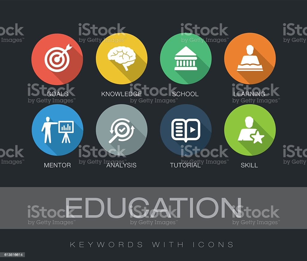 Education keywords with icons ベクターアートイラスト