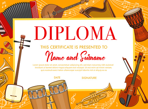 Education kids diploma with musical instruments