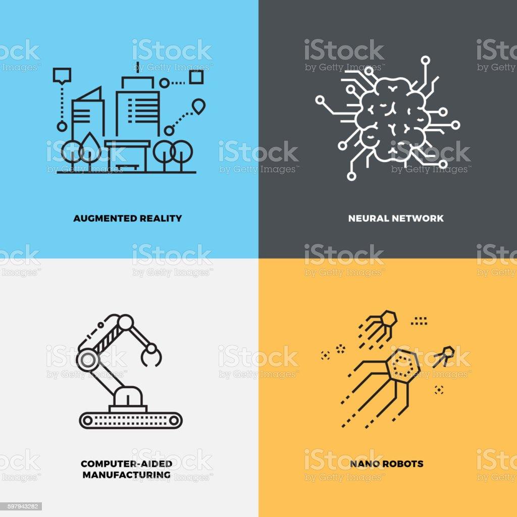 Education knowledge intelligence neuroscience vector concepts - ilustración de arte vectorial